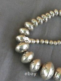 Vintage Sterling Silver Native American Signed Large Stamped Bead Necklace 22 +