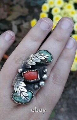 Vintage Sterling Silver Turquoise Coral Ring Large Signed MA Leaf 8.5 Navajo