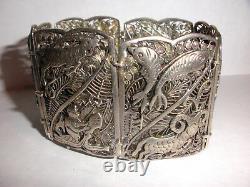 Vintage Unique Large Statement Zodiac Open Work Sterling Silver Bracelet