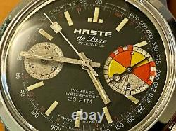 Vintage Yachting Big Eye Haste (LeJour) large stainless steel chronograph