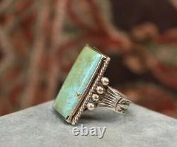 Vintage large Men's 925 sterling silver long turquoise ring sz 10