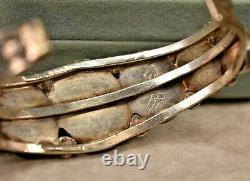 Vintage large men's 925 sterling silver turquoise cuff bracelet 8