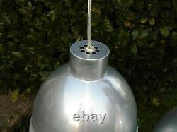 Vintage pair of Original BTC aluminium silver large pendant lights