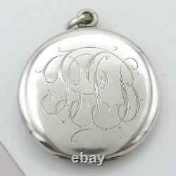 Vtg Antique Art Nouveau Sterling Silver Repousse Lady LARGE Locket Pendant