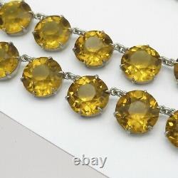 Vtg Art Deco Sterling Silver Open Back Topaz Glass LARGE Crystal Necklace