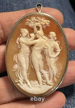 Vtg Large 2-1/8 Antique Shell Cameo Brooch Pin 800 Silver Three Graces