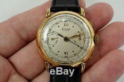 Zodiac 2 Register Chronograph Vintage 18k Nice Large 37 MM Valjoux 22 C. 1950's