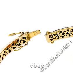 14k Vintage Or Jaune Argent Top Diamond Grand Rubis Ouvert Bracelet