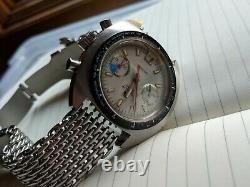1970 Vintage Grand Tissot Seastar Navigator Chronographe Valjoux 7734 W Bracelet