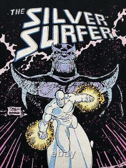 1991 Vintage Marvel The Silver Surfer Thanos T Shirt Large Talking Tops Fotl Tag