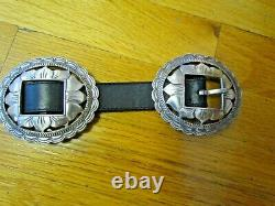1993 Brighton Argent Tournesol Concho Noir Cuir Belt Taille Large Vintage