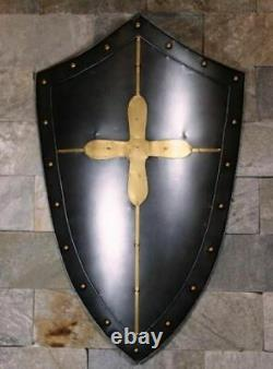 32'' Grand Europian Fait Main Vintage Médiéval Antique Knight Shield Steel Sca