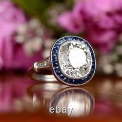 5 Ct Art Déco Vintage Antique Large Cushion Cut Engagement Ring 925 Argent