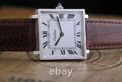 70's Elegant Cartier Silver 925 28mm Large Square Gents Booking Fine