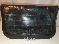 Amazimg 1930s Grand Français Art Déco Crocodile Peau Embrayage Marcasite Sur Argent