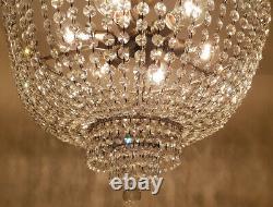 Ancien Vintage Laiton & Cristaux Basse Plafond Giant Chandelier Lampe D'éclairage