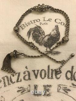 Antique Anglais Argent Massif Albertina Chaîne Bracelet Large Tassel Charm Fob