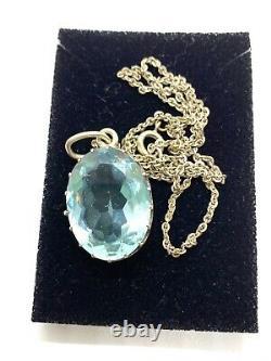 Antique Edwardian Sterling Argent Large Ciel Bleu Topaz Collant Pendentif Collier