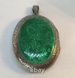 Antique Guilloche Émaillé Sterling Silver Repousse Locket Large Pendentif