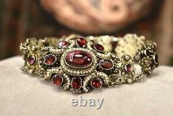 Antique Hongrois 900 Argent Bohème Grenat Perle Grand Bracelet Carbuncle