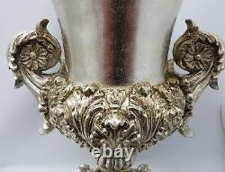 Antique Italian Style Silver Gold Grand Vase Décoratif Shabby Chic Hauteur 51cm