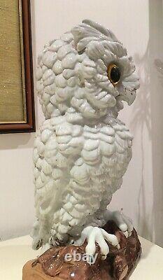 Antique Porcelaine Blanche Grande Hibou 13 Lampe À Huile Meissen