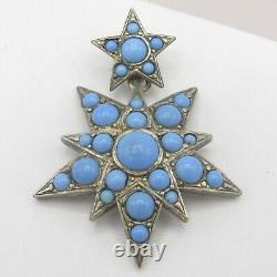 Antique Victorien 800 Argent Persan Turquoise Verre Triple Star Grand Pendentif