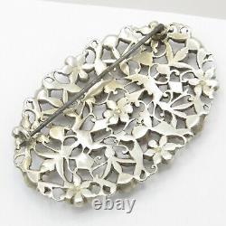 Antique Victorienne 2.5 Giardinetti Flower Paste Sterling Silver Grande Broche Pin