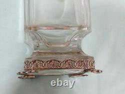 Antique Vintage Grand Art Déco. Vase Sterling Argent Et Verre
