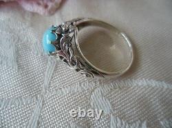 Antique Vintage Sterling Silver Ring Avec Pierre Turquoise Grande Taille 10 Ou U