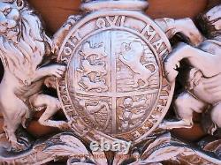 Armoiries Royales, Très Grande Plaque Murale. Mandat De La Reine Crête. Argent Antique