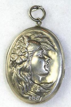 Art Nouveau Antique Grand Sterling Silver Lady Visage Et Les Cheveux Médaillon