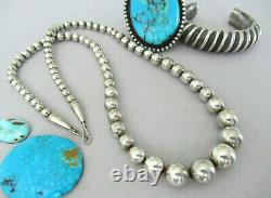 Authentic Vintage Large Navajo Pearl Bead Sterling Silver 24.25 Collier 44g