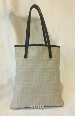 Authentique Vintage Fendizuca Grand Logo Beige Toile Brown Trim Tote Bag
