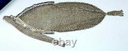 Belle Whiting & Davis Victorian Mesh Flipper Purse Silver Tone Grande Ouverture