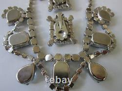 Boucle D'oreille Vintage Collier De Strass Bleu Set-large Prong Set Stones-silver Tone