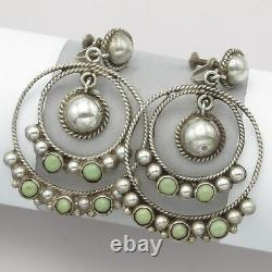 Boucles D'oreilles Vtg Early 1940 Mexican Sterling Silver Turquoise Large Hoop Dangle