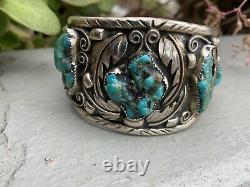 Bracelet De Manchette Turquoise Vintage Navajo Sterling Silver Signé Lt With Ring Large
