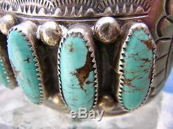 Bracelet Grand Revers Turquoise Sterling Signe Wb Wilbert Benally Navajo 1970