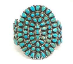 Bracelet Vintage J.m. Begay Sterling Silver & Turquoise Large Cuff