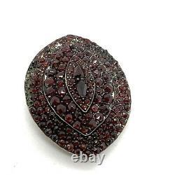 Broche Antique Victorienne De Grenat D'argent Sterling. Grand 2. Pièces