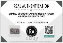 Chanel Authentique Logo CC Vintage Sac À Rabat Moyen Tweed Multicolor Pastel