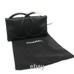 Chanel Rare Collectors CC Clutch Frame Bag Noir Satin Evening Vintage Silver