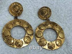 Chanel Vintage Man Sun Grand Vintage Boucles D'oreilles CC Dangling Clip On Euc Or