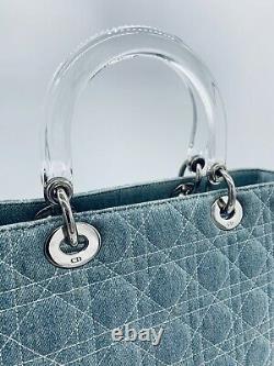 Christian Dior Lady Cannage Denim Jean Sac À Main Large Certifié Authentique Vintage