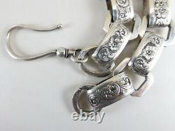 Collier De Chaîne De Livre En Argent Estampillé Victorien Antique Avec Grand Fermoir Crochet