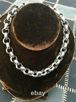 Collier En Chaîne Grande Chaîne Rolo Link Silver Sterling 925 Vintage (1247j)