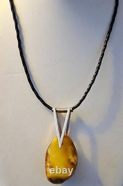 Collier En Cuir Argenté Vintage Large Baltic Butterscotch Amber And Sterling Silver