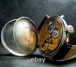Converti À Partir De Pocket Chronometer Antique 1918 Large Watch Porcelain Dial