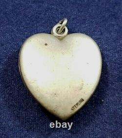 Cornucopia Puffy Heart Vintage 1940's Bracelet Charm Large Sterling Silver
